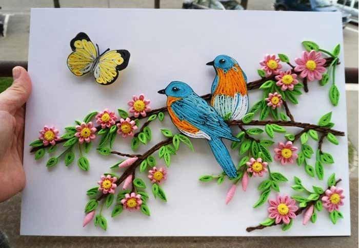 Картины своими руками с птичками