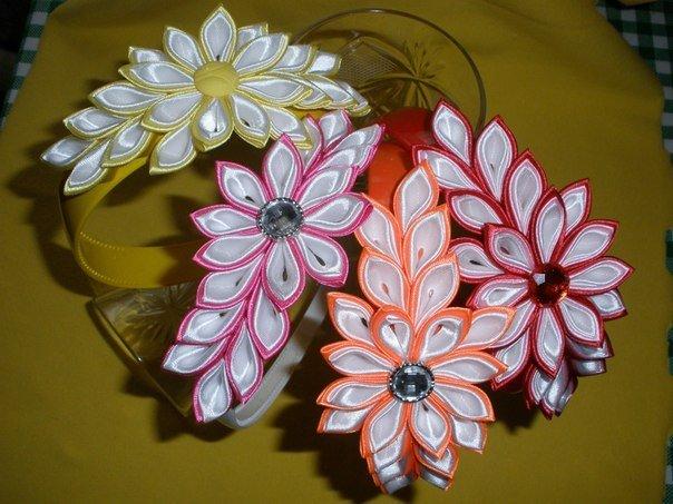 Мастер класс цветы из атласных лент своими руками канзаши