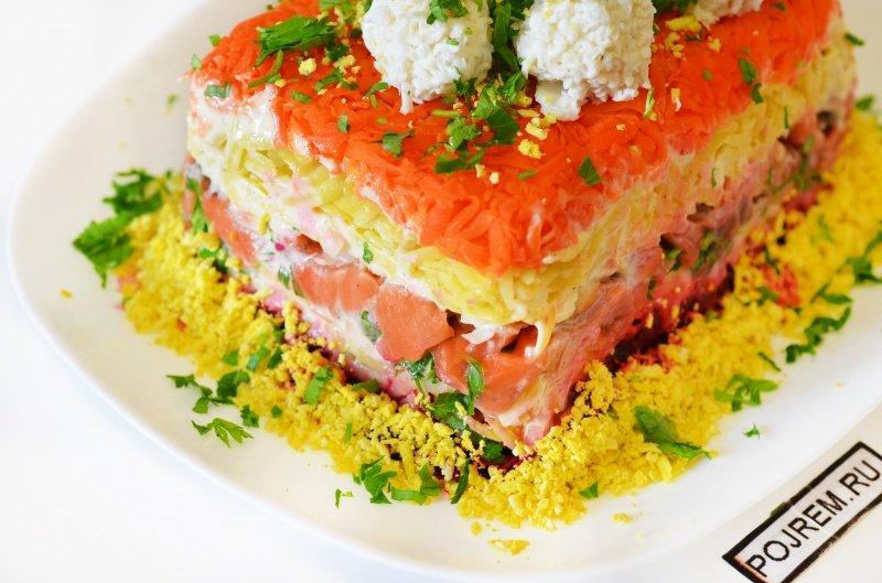 Рецепт салат с красной рыбой