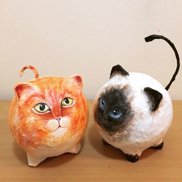 Как сделать круглого кота из папье-маше
