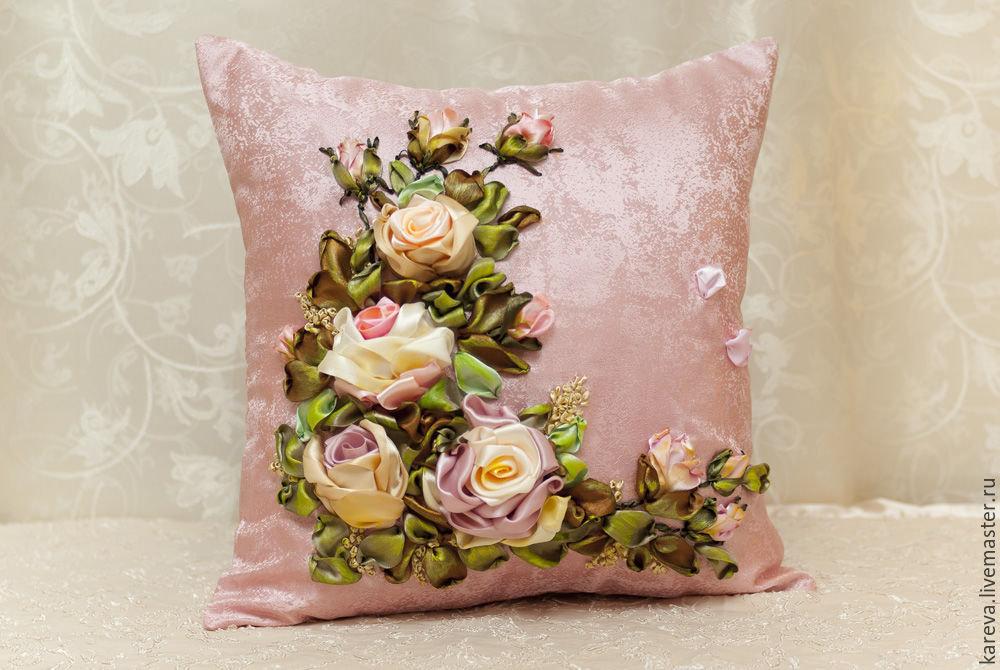 Вышивка атласными лентами декоративные подушки 65