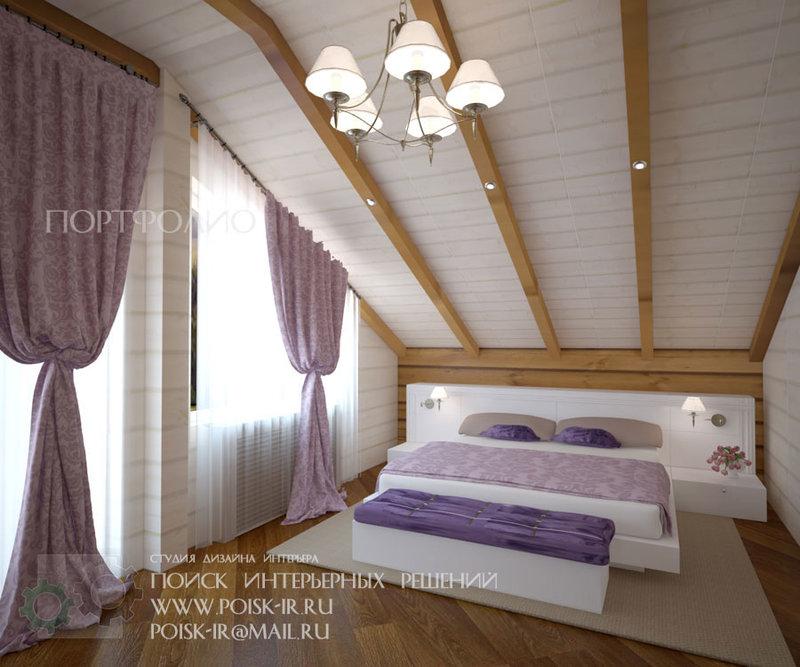 Спальня из вагонки дизайн на даче