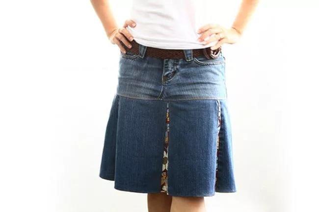 Джинсовая юбка сшить из старых джинсов 55