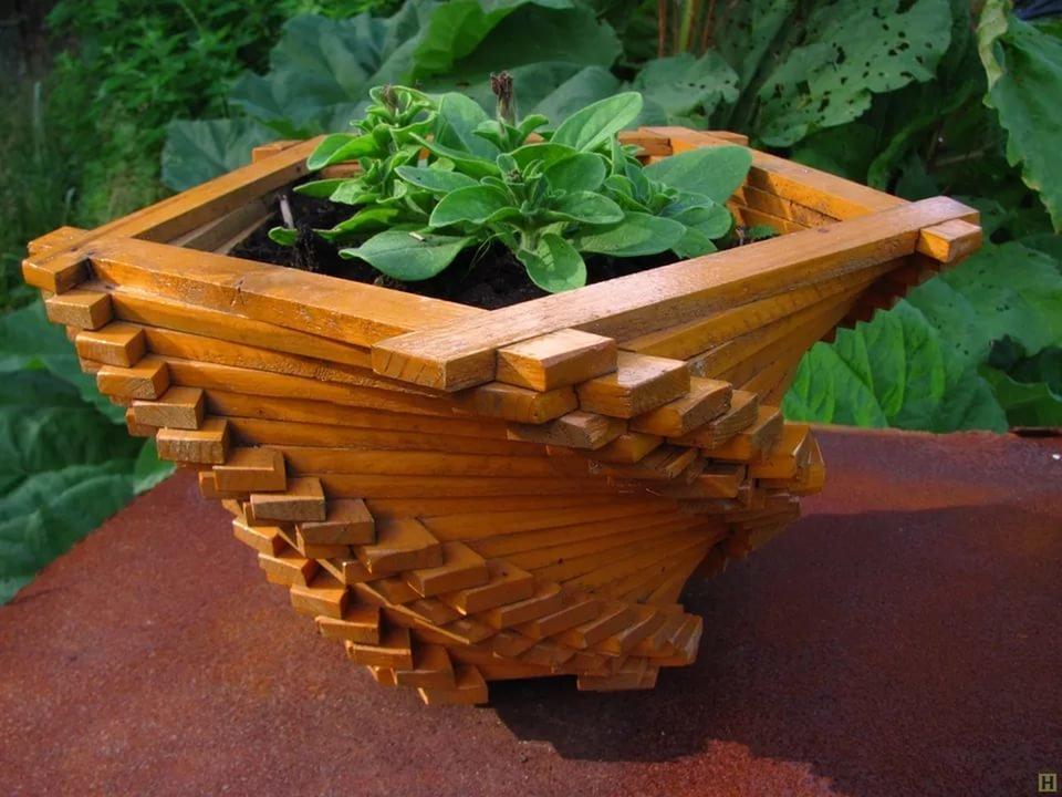 Как сделать кашпо из деревянных
