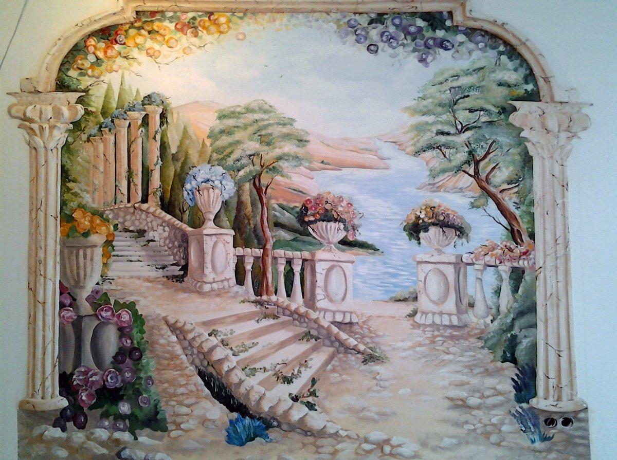 Пейзаж на стене дома своими руками
