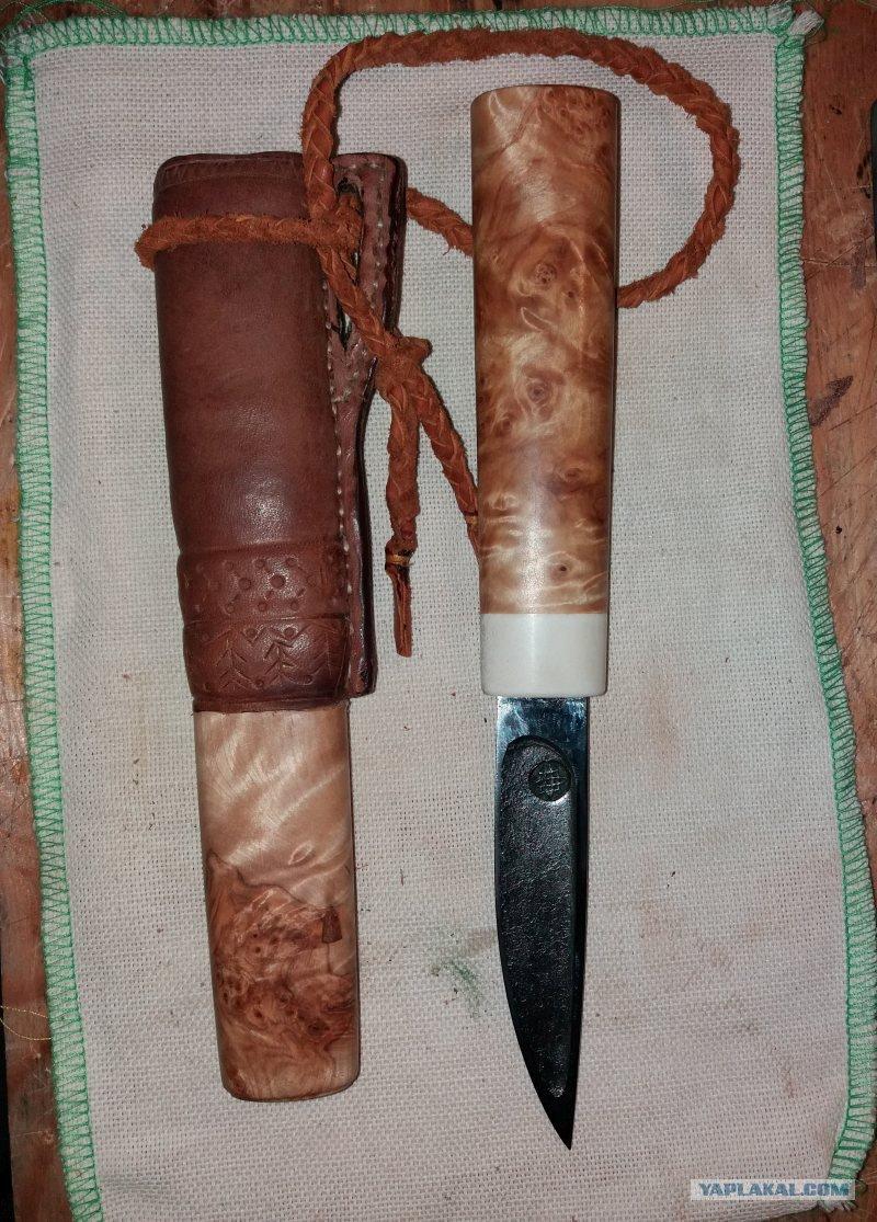 Рукоять ножа из капа березы