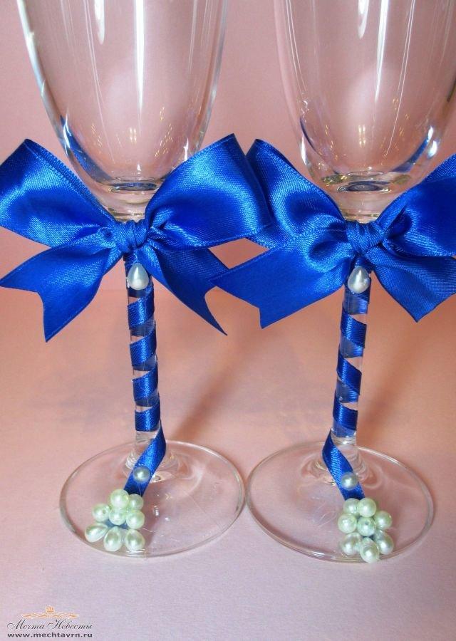 Бокалы для свадьбы своими руками в синем цвете 93