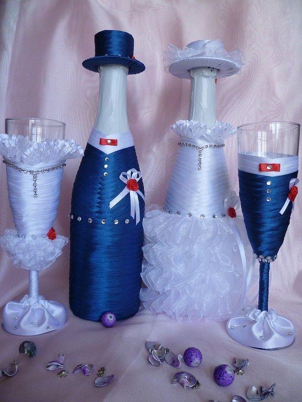 Свадебные бутылки и бокалы из лент своими руками