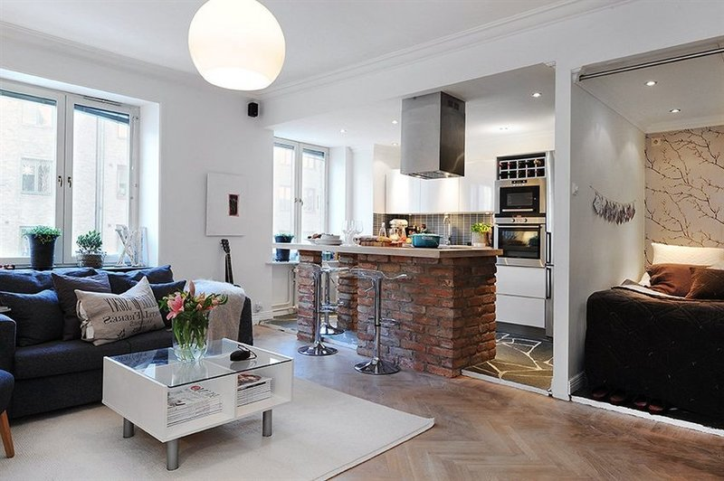 Кухня гостинная 40 квадратов фото