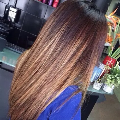 омбре фото волос с шоколадным цветом