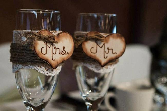 Свадебные бокалы рустик