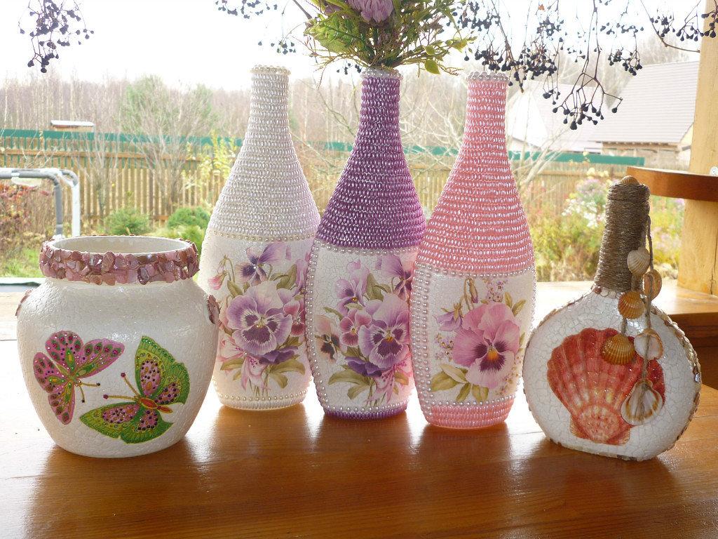 Как оформить вазу своими руками из подручных материалов 98
