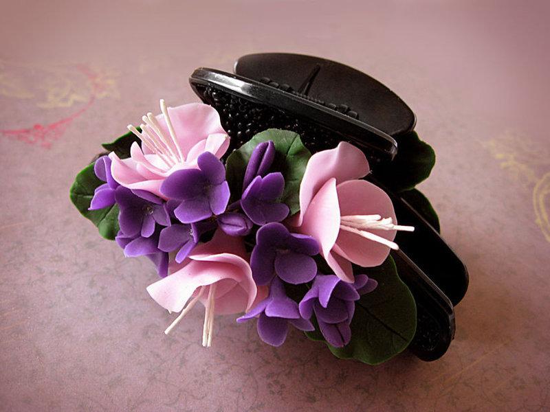 Заколка краб с цветком своими руками