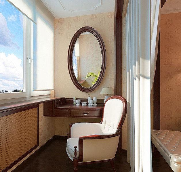 Дизайн зеркало на балконе
