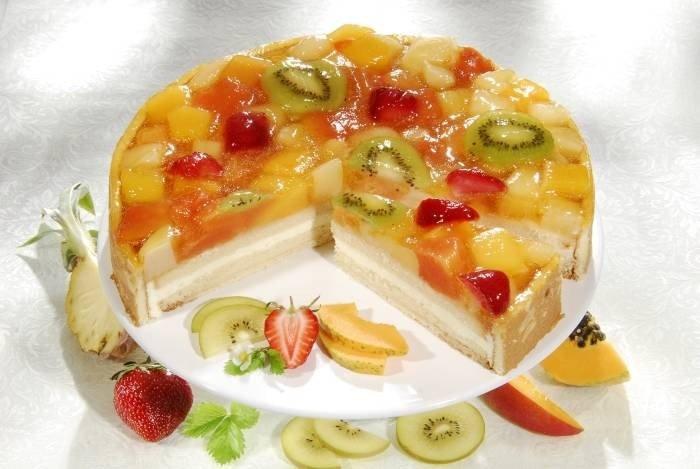 Торт из фруктов сметаны и желатина с фруктами пошаговый рецепт с