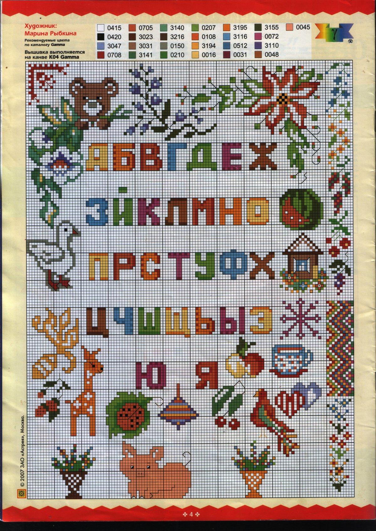 Схемы для вышивки цифр и букв русского алфавита крестом 76