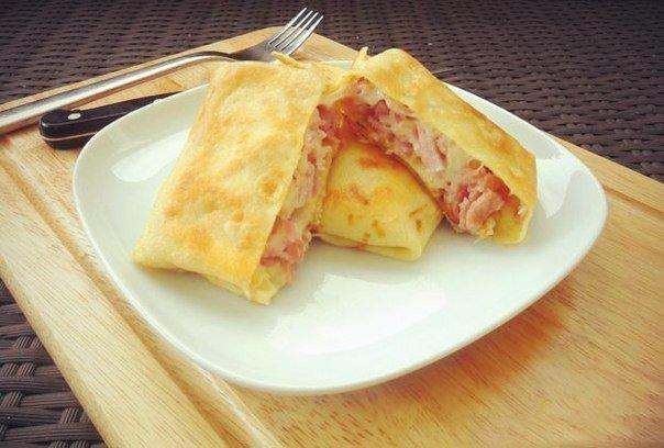 Как приготовить блины с ветчиной и сыром