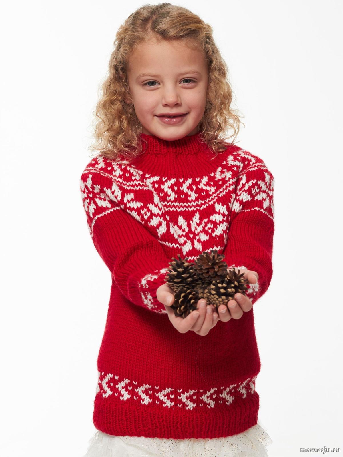 Пуловер с жаккардовым узором для девочки