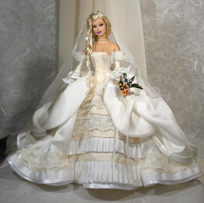 Кукла барби. свадебное платье своими руками