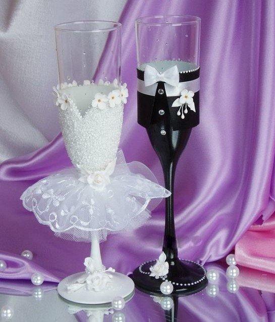 Фужеры жених и невеста на свадьбу своими руками мастер класс фото 39