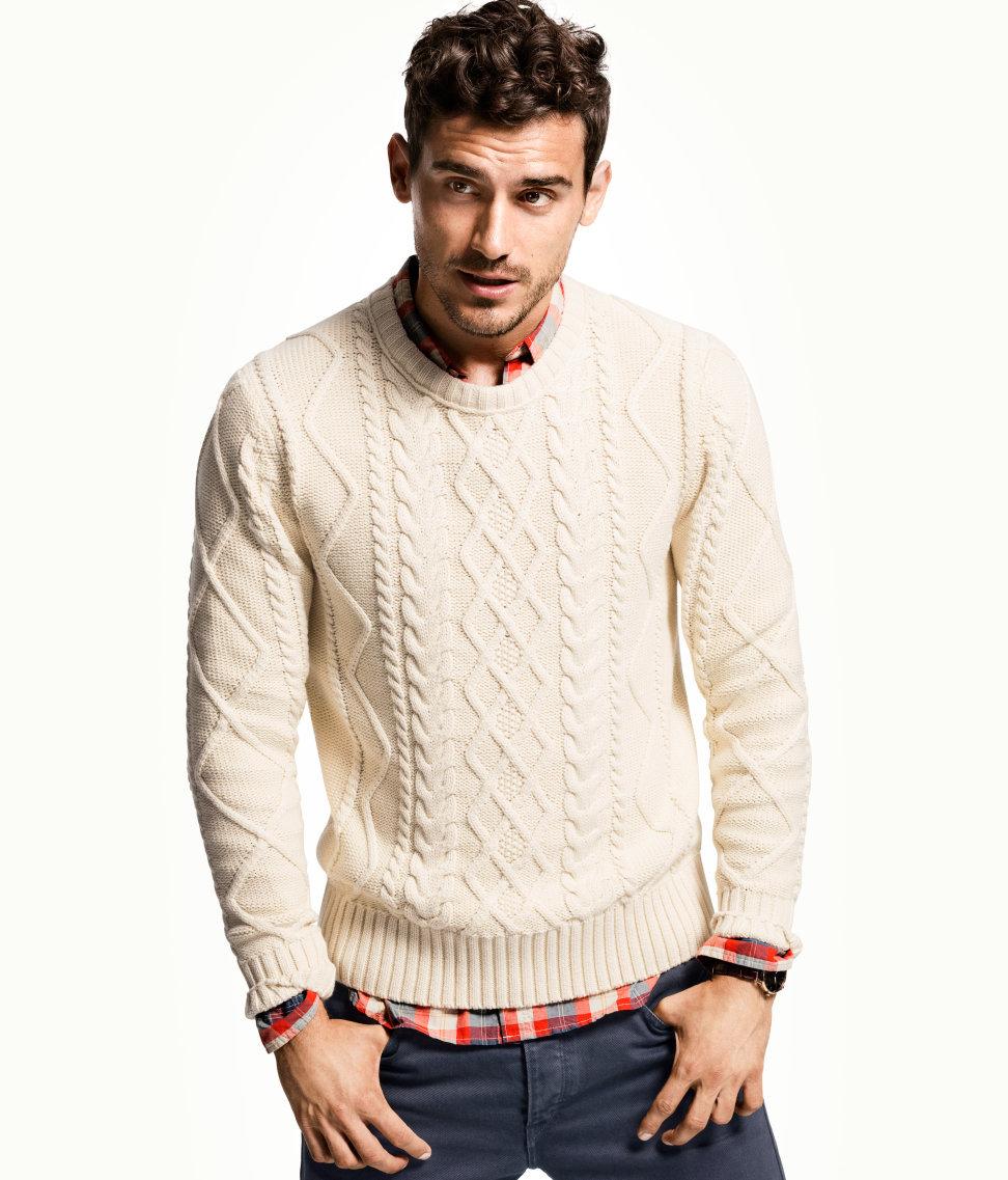 Мужские свитера вязание белого цвета