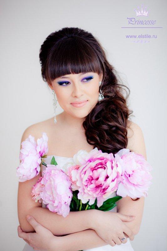Свадебные прически средние волосы с прямой челкой
