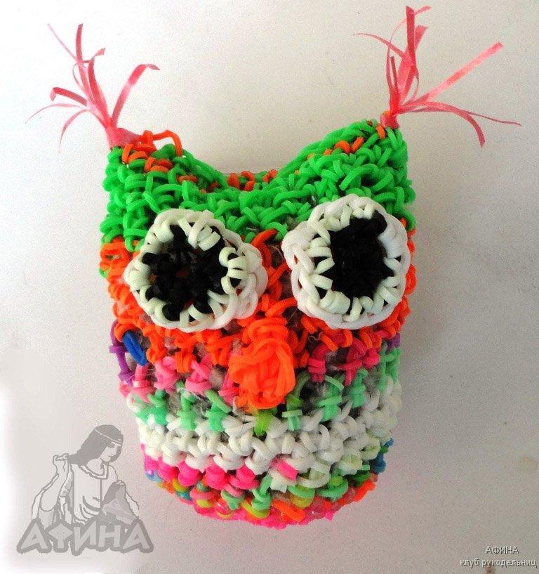 Резиночки для плетения браслетов сделать сову