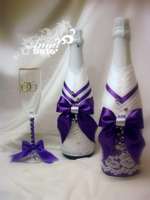 Оформление свадебных бокалов и бутылок 92