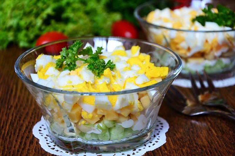 Простые салаты с консервированными шампиньонами рецепты