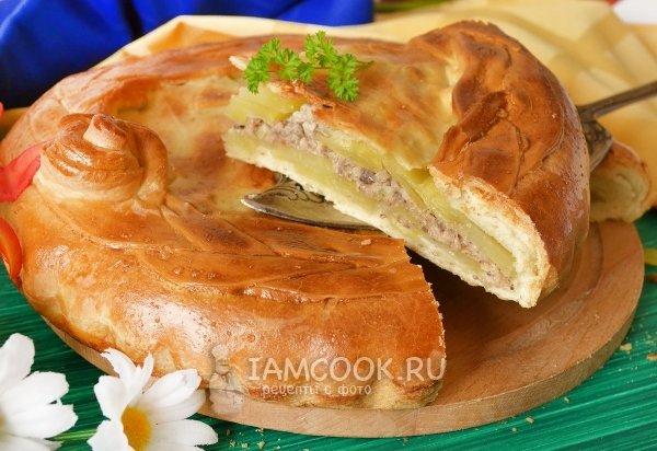 Пирог с консервой и картошкой рецепт с в