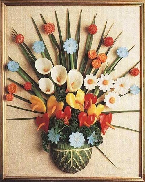 Поделки ваза с цветами из овощей 30