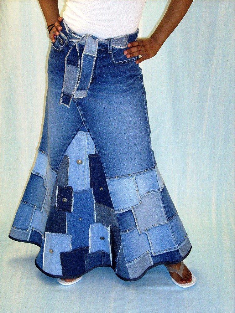 Джинсовые юбки из старых джинс