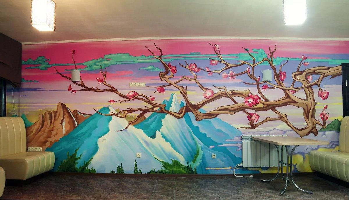 Роспись на стенах в интерьере своими руками 84