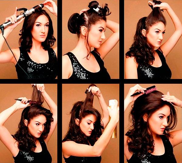 Причёски на длинные волосы с начесом в домашних условиях своими руками 14