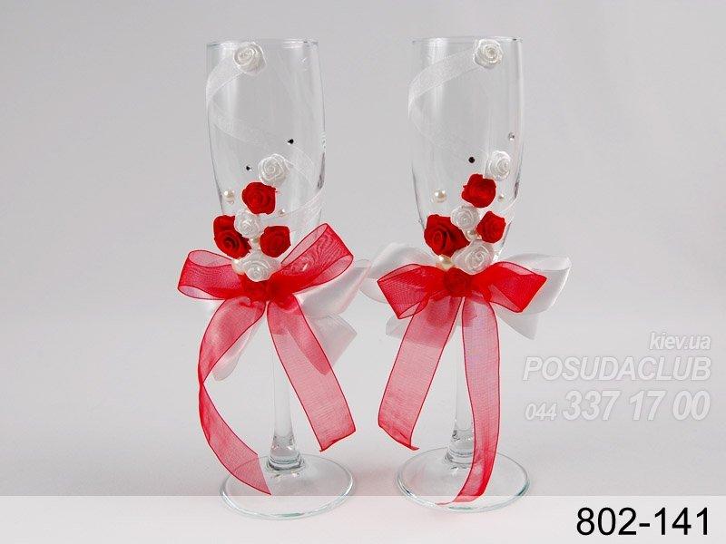 Бокалы на свадьбу в красно-белом цвете своими руками 29