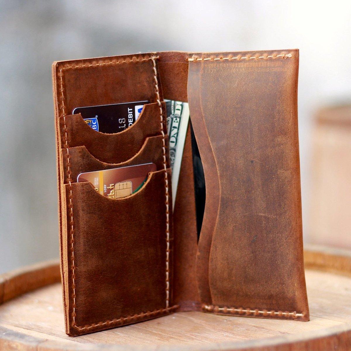 Простой кожаный кошелек своими руками 75