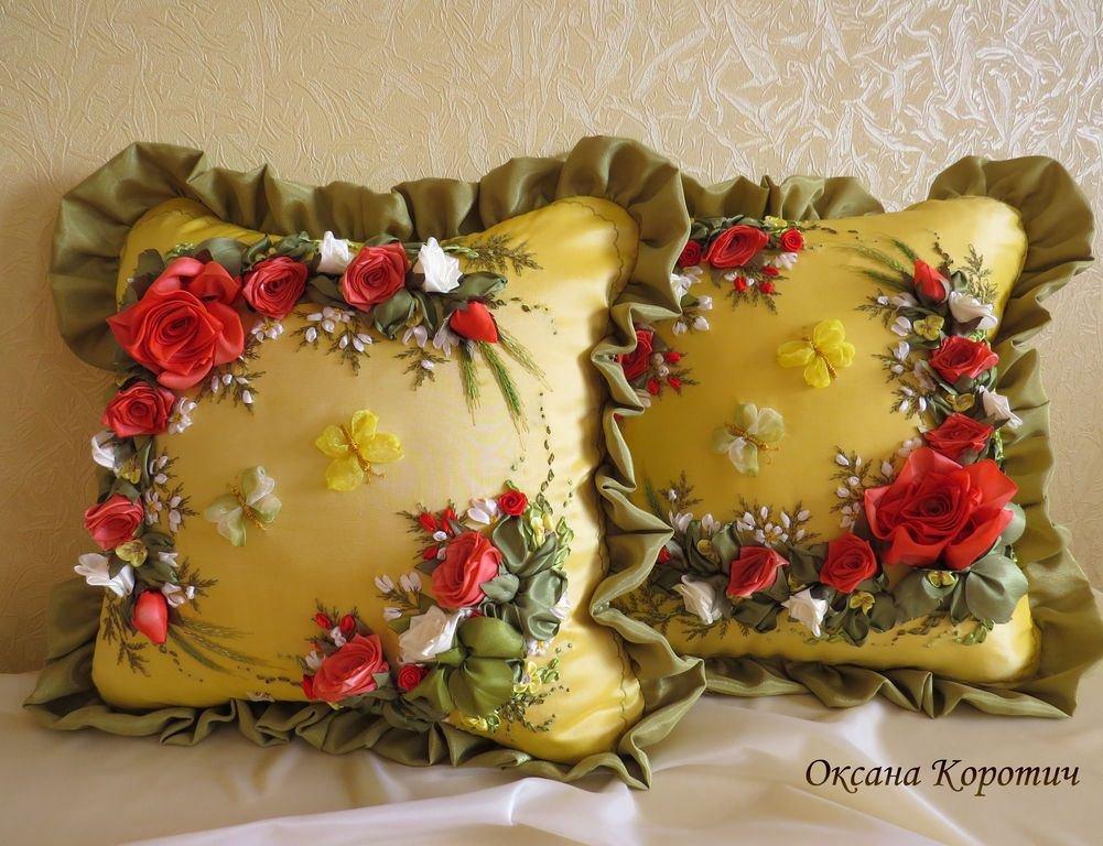 Вышивка атласными лентами декоративные подушки 18