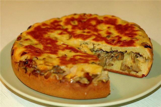 Пирог с мясом грибами в духовке пошаговый рецепт