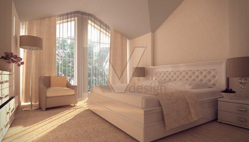 Интерьер спальни с ковролином
