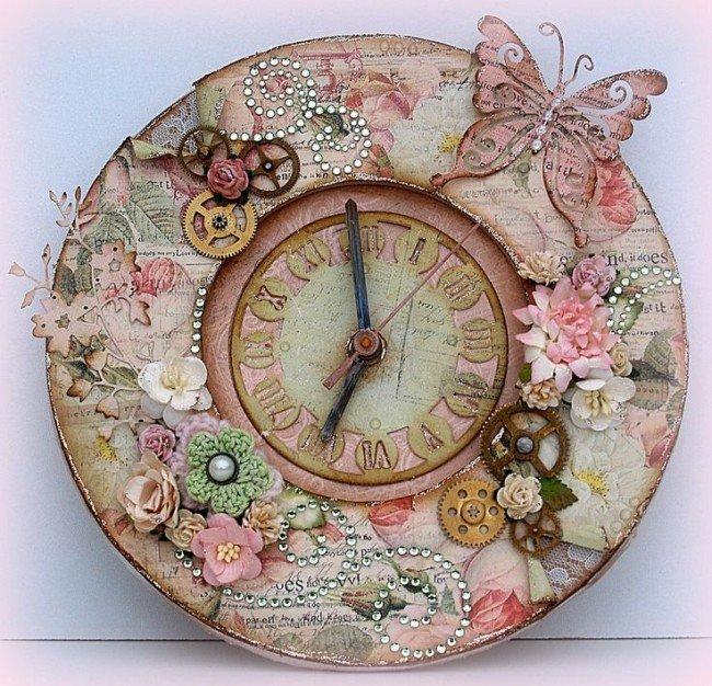 Винтажные настенные часы своими руками 11