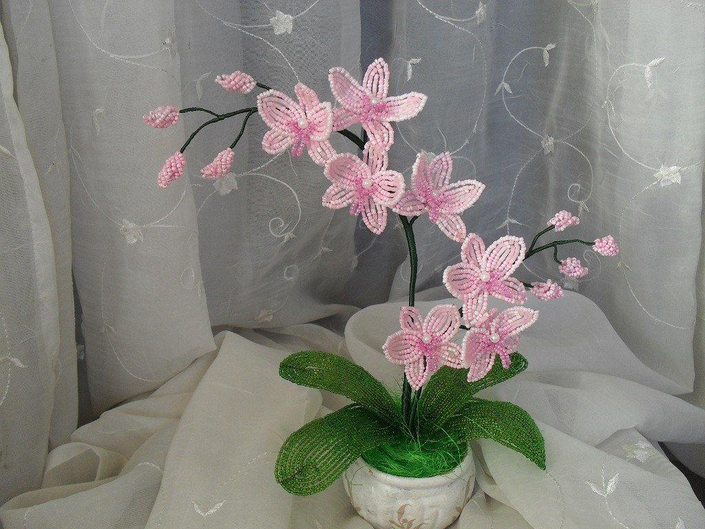 Орхидеи из бисера мастер класс с пошаговым фото для начинающих схема