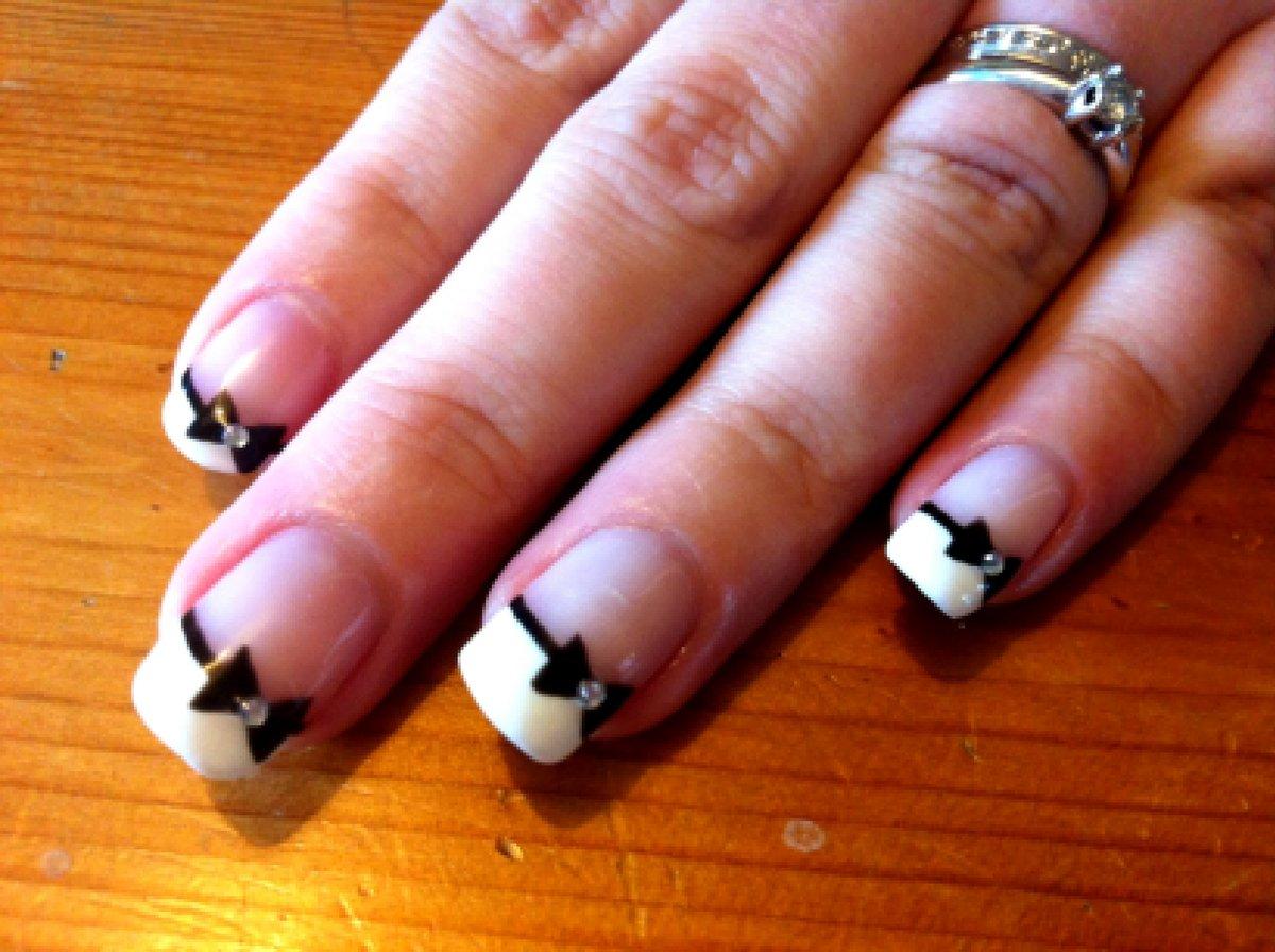 Ногти черный белый френч
