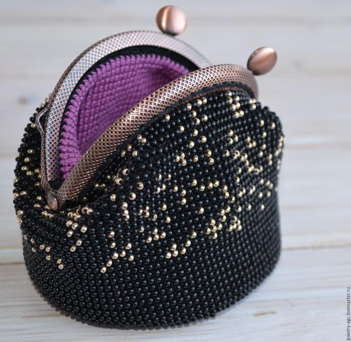 Вязание бисером кошелек с фермуаром 11