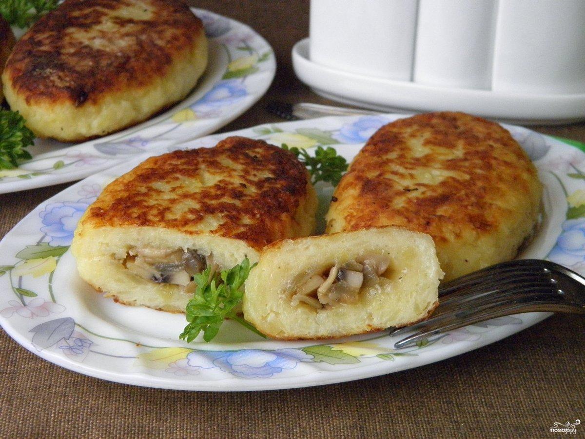 Пошаговый рецепт картофельных зраз с грибами