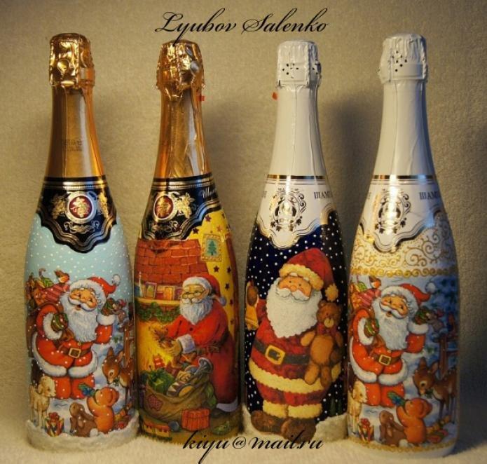 Декупаж бутылок шампанского своими руками мастер