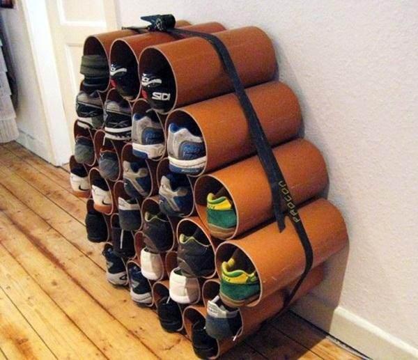 Обувная полка из пластиковых труб своими руками фото 18