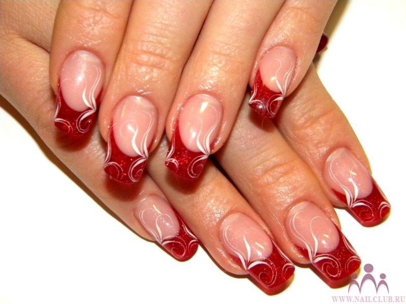 Рисунок для ногтей френч красный с