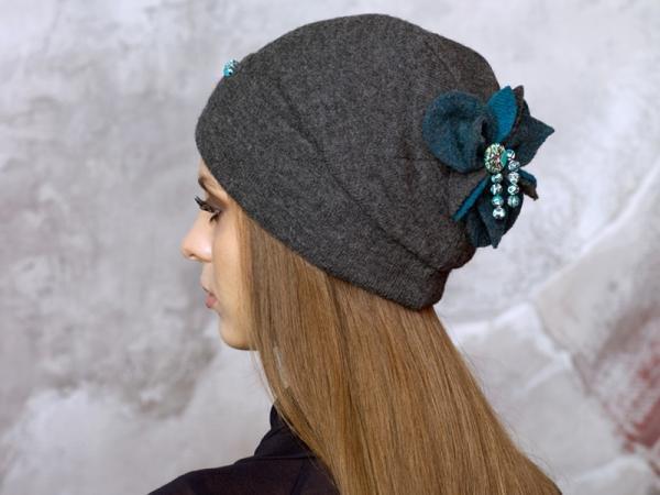 Трикотажная шапка для женщин своими руками