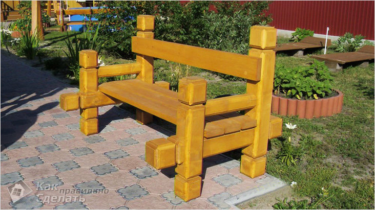 Скамейка с бруса своими руками