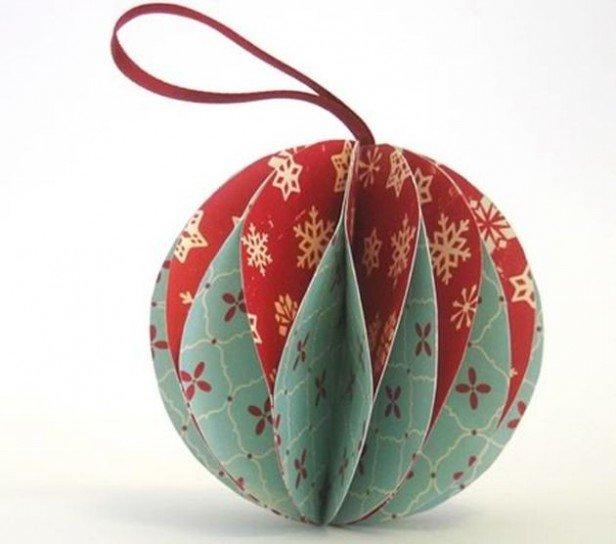 Новогодняя игрушка шар из бумаги своими руками